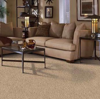 Living room scene with tan Alexander Smith carpet
