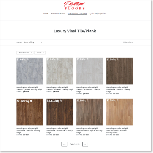 Phillips' Floors new online store at shop.phillipsfloors.com